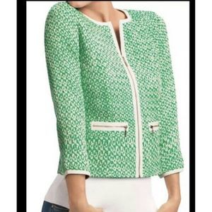 Cabi clover tweed jacket green white size 6 #726